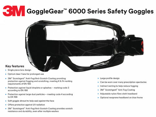 3M GoggleGear 6000 Safety Goggles